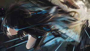Rating: Safe Score: 243 Tags: black_hair black_rock_shooter blue_eyes kuroi_asahi kuroi_mato long_hair signed sword weapon User: Flandre93