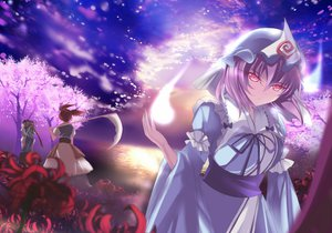 Rating: Safe Score: 89 Tags: cherry_blossoms dress flowers marionette_(excle) onozuka_komachi saigyouji_yuyuko scythe shikieiki_yamaxanadu sky touhou tree weapon User: STORM