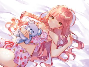 Rating: Safe Score: 59 Tags: blush long_hair miyakoto original pajamas pink_hair shorts teddy_bear yellow_eyes User: sadodere-chan