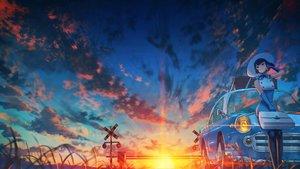 Rating: Safe Score: 47 Tags: car clouds hat kenzo_093 original short_hair sky sunset User: mattiasc02