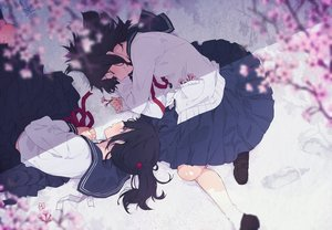 Rating: Safe Score: 35 Tags: 2girls black_hair cherry_blossoms flowers long_hair ogipote original seifuku skirt snow socks User: RyuZU