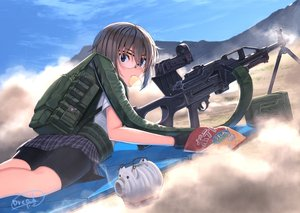 Rating: Safe Score: 18 Tags: bike_shorts black_hair blue_eyes clouds dreadtie food glasses gloves gun jpeg_artifacts original short_hair shorts signed skirt sky weapon User: RyuZU