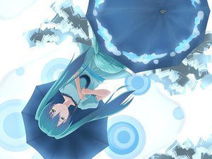Rating: Safe Score: 31 Tags: blue_eyes blue_hair hatsune_miku long_hair twintails umbrella vocaloid User: mihaela94