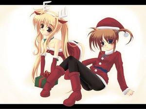 Rating: Safe Score: 18 Tags: christmas fate_testarossa hat mahou_shoujo_lyrical_nanoha santa_costume santa_hat takamachi_nanoha User: Oyashiro-sama