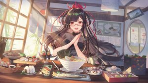 Rating: Safe Score: 110 Tags: atdan brown_hair drink food glasses long_hair onmyouji red_eyes tagme_(character) User: BattlequeenYume