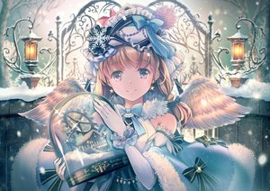 Rating: Safe Score: 14 Tags: angel bow brown_eyes brown_hair elbow_gloves feathers gloves headdress lolita_fashion original snow soraizumi twintails wings winter User: BattlequeenYume