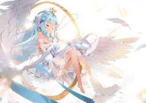 Rating: Safe Score: 90 Tags: animal barefoot bird blue_hair breasts cleavage cross crown feathers long_hair necklace original tagme_(artist) wings User: sadodere-chan