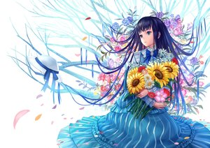 Rating: Safe Score: 84 Tags: black_hair blue_eyes bow dress flowers hat lolita_fashion long_hair original petals ribbons rose siro sunflower tree User: Maboroshi