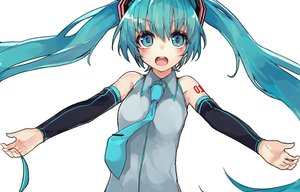 Rating: Safe Score: 100 Tags: aqua_eyes aqua_hair blush hatsune_miku kou_mashiro long_hair tattoo tie twintails vocaloid User: Flandre93