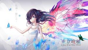 Rating: Safe Score: 120 Tags: black_hair blue_eyes butterfly dress kirishima_touka logo tokyo_ghoul User: humanpinka