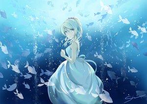 Rating: Safe Score: 73 Tags: animal ayase_eri blonde_hair dress fish long_hair love_live!_school_idol_project ponytail shino_(shinderera) signed underwater water User: RyuZU