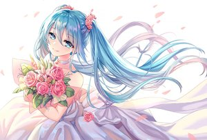 Rating: Safe Score: 54 Tags: aqua_eyes aqua_hair blush flowers hatsune_miku lalazyt long_hair petals rose twintails vocaloid User: RyuZU