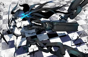Rating: Safe Score: 42 Tags: black_rock_shooter chain gun katana kuroi_mato scar sword weapon User: HawthorneKitty