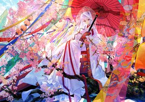 Rating: Safe Score: 87 Tags: cherry_blossoms flowers fuji_choko japanese_clothes kimono long_hair original red_eyes tree umbrella wedding_attire white_hair User: BattlequeenYume
