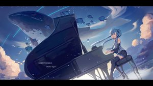 Rating: Safe Score: 26 Tags: animal barli bird clouds fish hatsune_miku instrument long_hair piano skirt sky thighhighs twintails vocaloid User: RyuZU