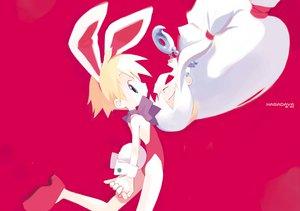 Rating: Safe Score: 6 Tags: animal_ears blonde_hair bunny_ears bunnygirl harada_takehito keio_flying_squadron leotard long_hair nanahikari_rami red white_hair yamatai_himeko User: Oyashiro-sama