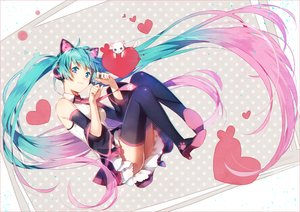 Rating: Safe Score: 170 Tags: animal animal_ears aqua_eyes aqua_hair boots cat hakusai hatsune_miku headphones heart long_hair skirt thighhighs tie twintails vocaloid User: Flandre93