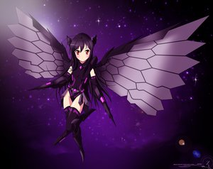 Rating: Safe Score: 175 Tags: accel_world black_hair blush kuro_yuki_hime long_hair red_eyes thighhighs wings User: 2ble-zz