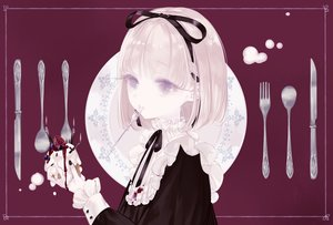 Rating: Safe Score: 32 Tags: blonde_hair cake food fruit goth-loli lolita_fashion original polychromatic purple purple_eyes short_hair strawberry yoggi_(stretchmen) User: RyuZU