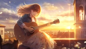 Rating: Safe Score: 40 Tags: animal brown_eyes brown_hair building cat city clouds flowers guitar instrument long_hair necklace original petals romiy rooftop scenic sky sunset User: RyuZU