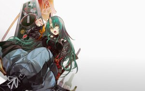 Rating: Safe Score: 28 Tags: arknights csyday green_hair horns hoshiguma_(arknights) long_hair signed third-party_edit white yellow_eyes User: boomshadow
