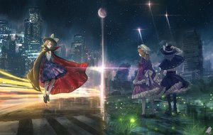 Rating: Safe Score: 67 Tags: black_eyes black_hair bow brown_hair building car city dress glasses grass hat kneehighs maribel_han moon ribbons ruins short_hair stars touhou usami_renko usami_sumireko you_(shimizu) User: RyuZU