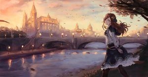 Rating: Safe Score: 58 Tags: animal bird blue_eyes brown_hair building city clouds dress landscape leaves long_hair na_(oagenosuke) original pantyhose reflection scenic sky tree water User: BattlequeenYume