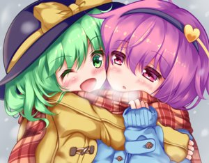 Rating: Safe Score: 17 Tags: 2girls blush close green_eyes green_hair hat headband komeiji_koishi komeiji_satori loli purple_eyes purple_hair scarf short_hair shoujo_ai touhou unory wink User: otaku_emmy
