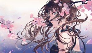 Rating: Safe Score: 84 Tags: brown_hair cherry_blossoms close flowers gradient green_eyes long_hair original sakuragi_kei spring User: BattlequeenYume