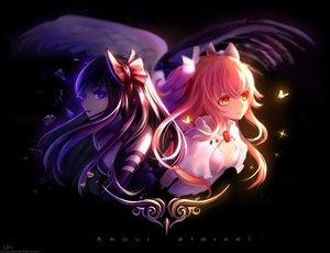 Rating: Safe Score: 138 Tags: 2girls akemi_homura akuma_homura black_hair bow butterfly kaname_madoka long_hair mahou_shoujo_madoka_magica ultimate_madoka un_s watermark wings User: Flandre93