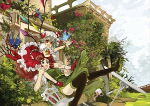 Rating: Safe Score: 51 Tags: 2girls blonde_hair blue_eyes boots chinese_clothes drink flandre_scarlet flowers hat hong_meiling jpeg_artifacts long_hair ponytail red_eyes red_hair rose ryuuri_susuki thighhighs touhou tree vampire wings User: SonicBlue