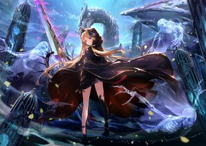 Rating: Safe Score: 72 Tags: blonde_hair bones cape clouds dragon ereshkigal_(fate/grand_order) essual_(layer_world) fate/grand_order fate_(series) hoodie long_hair night purple_eyes skull sky stars sword thighhighs tiara weapon User: BattlequeenYume