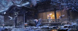 Rating: Safe Score: 250 Tags: animal bird dualscreen japanese_clothes kimono lost_elle rope shrine signed snow tree tsuru_no_ongaeshi umbrella water winter User: Flandre93