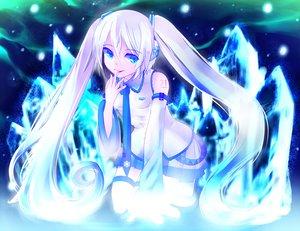 Rating: Safe Score: 86 Tags: aaru blue_eyes hatsune_miku headphones skirt vocaloid white_hair yuki_miku User: FormX