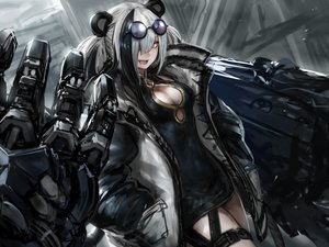 Rating: Safe Score: 26 Tags: animal_ears arknights breasts chinese_clothes chinese_dress cleavage cropped dress fang feater_(arknights) gray_hair long_hair mechagirl misawa_kei sunglasses twintails User: Nepcoheart