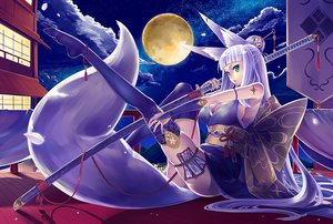 Rating: Safe Score: 170 Tags: animal_ears bow breasts building cleavage clouds erect_nipples foxgirl garter gloves gray_hair green_eyes japanese_clothes katana long_hair moon night ofuda original rooftop seihou sky stars sword tail tattoo thighhighs weapon User: BattlequeenYume