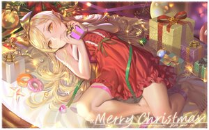 Rating: Safe Score: 68 Tags: alphonse bakemonogatari barefoot blonde_hair christmas dress food loli long_hair monogatari_(series) oshino_shinobu pointed_ears ribbons signed yellow_eyes User: BattlequeenYume