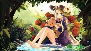 Rating: Safe Score: 38 Tags: abigail_williams_(fate/grand_order) aqua_eyes barefoot blonde_hair bow coria dress fate/grand_order fate_(series) flowers forest grass hat loli long_hair rose teddy_bear tree water User: Fepple