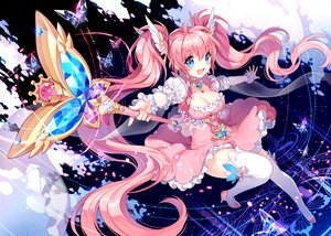 Rating: Safe Score: 108 Tags: blue_eyes breasts cleavage dress long_hair nardack original pink_hair staff twintails User: Shupa