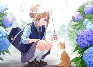 Rating: Safe Score: 72 Tags: animal blonde_hair cat crying flowers kneehighs original ponytail purple_eyes rain school_uniform tears umbrella urata_asao water User: BattlequeenYume