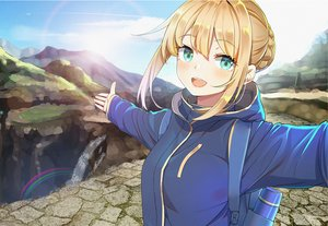 Rating: Safe Score: 71 Tags: artoria_pendragon_(all) blonde_hair blush braids close fate_(series) fate/stay_night green_eyes hoodie kongbai rainbow saber short_hair water waterfall User: RyuZU