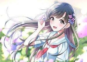 Rating: Safe Score: 31 Tags: blush brown_hair flowers gray_eyes idolmaster idolmaster_cinderella_girls kobayakawa_sae long_hair school_uniform sutorora User: BattlequeenYume