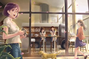Rating: Safe Score: 24 Tags: animal brown_eyes brown_hair camera car dog eiri_su glasses kneehighs long_hair original petals purple_eyes purple_hair seifuku short_hair signed skirt User: RyuZU