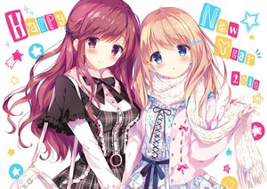 Rating: Safe Score: 173 Tags: 2girls blonde_hair blue_eyes blush kirishima_satoshi lolita_fashion long_hair original pink_eyes pink_hair scarf User: Flandre93