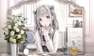 Rating: Safe Score: 60 Tags: apple228 flowers gray_eyes gray_hair lolita_fashion mirror original reflection rose shirt User: BattlequeenYume