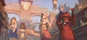 Rating: Safe Score: 72 Tags: animal_ears au_ra bicolored_eyes blonde_hair blue_eyes blue_hair brown_eyes brown_hair building catgirl chinese_clothes chinese_dress city final_fantasy final_fantasy_xiv food gloves group horns japanese_clothes kiwi_(1115168110) long_hair miqo'te User: SciFi