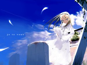 Rating: Safe Score: 6 Tags: blonde_hair blue_eyes clouds dress flowers shimada_fumikane sky User: 秀悟