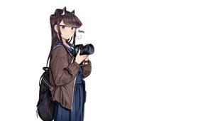 Rating: Safe Score: 41 Tags: animal_ears black_hair blush camera catgirl komi-san_wa_komyushou_desu komi_shouko long_hair purple_eyes r3d school_uniform white User: RyuZU