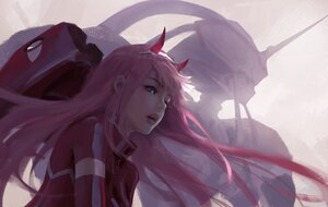 Rating: Safe Score: 126 Tags: aqua_eyes bodysuit darling_in_the_franxx headband horns long_hair mecha pink_hair wlop zero_two User: BattlequeenYume