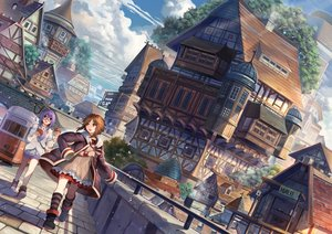 Rating: Safe Score: 109 Tags: 2girls akizone blue_eyes boots brown_hair building city cross food glasses kneehighs necklace orange_eyes original purple_hair scenic short_hair shorts train wristwear User: Flandre93